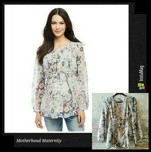 Motherhood maternity lovely floral chiffon blouse